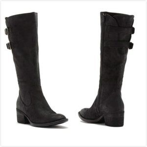 NWIB Born Bley Suede Buckle Boot Black Size 11M